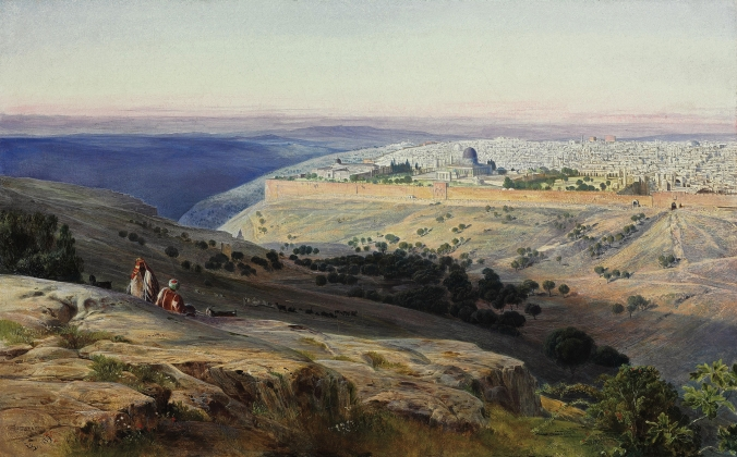 Edward Lear - Jerusalem from the Mount of Olives, Sunrise (Wikipedia Commons)